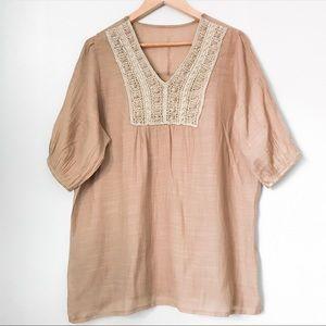 Light camel peasant tunic blouse